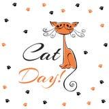 Международный день котов дополнительный праздник формата карты Красный шарж кота Смешной жизнерадостный котенок Следы ноги ` s ко иллюстрация вектора