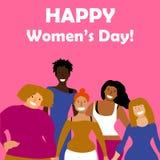 Международный день ` s женщин Vector шаблон с для карточкой, плакатом, рогулькой и другими потребителями иллюстрация вектора