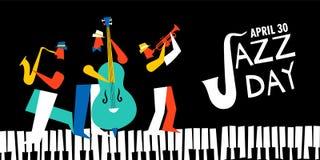 Международный плакат дня джаза диапазона живой музыки бесплатная иллюстрация