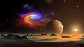 Межзвёздное облако, восход солнца и планета чужеземца видеоматериал
