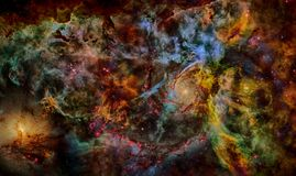 Межзвёздное облако, звезды и галактика в глубоком космосе стоковое фото rf