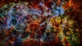 Межзвёздное облако, звезды и галактика в глубоком космосе стоковое изображение