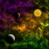 Межзвёздное облако и звезда с планетами в фронте Стоковые Изображения