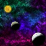 Межзвёздное облако и звезда с планетами в фронте Стоковая Фотография