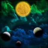Межзвёздное облако и звезда с планетами в фронте Стоковое Фото