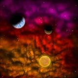 Межзвёздное облако и звезда с планетами в фронте Стоковые Изображения RF
