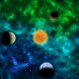 Межзвёздное облако и звезда с планетами в фронте Стоковое фото RF