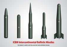 межконтинентальная баллистическая ракета ICBM 3D Стоковые Изображения