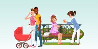 Межрасовая семья с newborn и девушки ждать младенца иллюстрация вектора