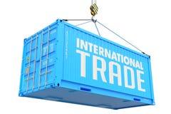 Международная торговля - голубой грузовой контейнер смертной казни через повешение стоковые фото
