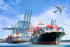 Международные грузовой корабль и транспортный самолет контейнера для логистического импорта экспортируют предпосылку Стоковые Изображения RF
