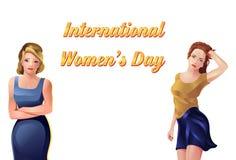 Международные девушки торжества дня ` s женщин Иллюстрация штока