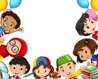 Международные дети и объекты школы иллюстрация вектора