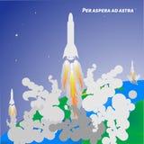 Международные сутки человеческого космического полета Старт Ракеты от eart Стоковые Фотографии RF