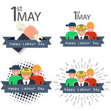 Международные счастливые плакаты Дня труда также вектор иллюстрации притяжки corel Стоковое Изображение