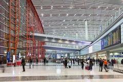 Международный аэропорт столицы Пекина залы прибытия Стоковое Фото