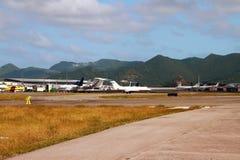 Международный аэропорт Philipsburg, Сен-Мартен Стоковые Фотографии RF