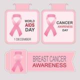 Международный день СПИДА Осведомленность рака молочной железы Стоковые Фотографии RF