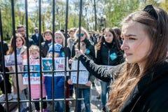 Международный день цирка Активисты опротестованные против эксплуатирования животные Стоковое Изображение