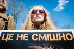 Международный день цирка Активисты опротестованные против эксплуатирования животные Стоковые Изображения RF