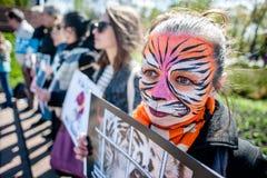 Международный день цирка Активисты опротестованные против эксплуатирования животные Стоковые Фото