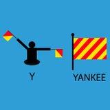 Международный морской сигнальный флаг, алфавит моря, иллюстрация вектора, семафор, сообщение, Янки Стоковое Изображение