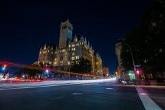 Международный отель козыря в Вашингтоне, долгой выдержке DC на Nig Стоковое Фото