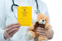 Международный сертификат вакцинирования Стоковое Фото
