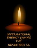 Международный энергосберегающий день, 1-ое ноября, свеча на темноте бесплатная иллюстрация