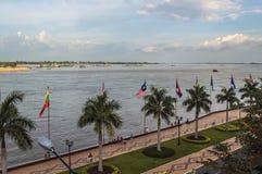 Меконг в Пномпень Стоковая Фотография