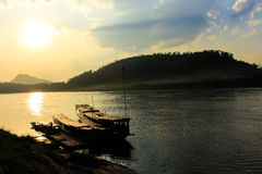 Меконг, порт, Luang Prabang, Лаос Стоковое Изображение RF