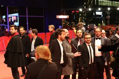 Мексиканец Алонсо Ruizpalacios, Bernardo Velasco, Leonardo Ortizgris на Berlinale 2018 Стоковые Фотографии RF