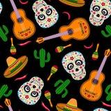 Мексиканская безшовная картина на черной предпосылке иллюстрация вектора