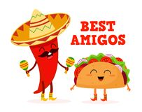 Мексиканская еда Тако и перец характеры стилизованные также вектор иллюстрации притяжки corel иллюстрация штока