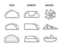 Мексиканская еда кухни Тако, буррито и nachos есть линию комплект закусок вектора иллюстрация штока