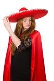 Мексиканская женщина в красной одежде Стоковые Изображения RF