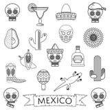Мексиканская линия значки иллюстрация штока