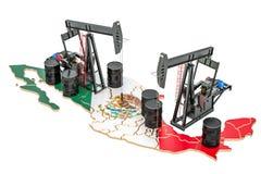 Мексиканская карта с бочонками масла и pumpjacks Conce добычи нефти иллюстрация штока