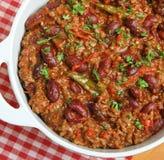 Мексиканская тарелка Chili говядины Стоковые Изображения