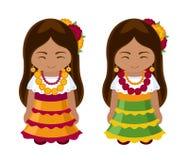 Мексиканские девушки в национальном платье иллюстрация штока