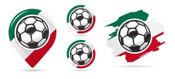 Мексиканские значки вектора футбола Цель футбола Комплект значков футбола бесплатная иллюстрация
