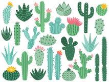 Мексиканские кактус и алоэ Завод пустыни колючий, кактусы Мексики цветет и тропическими домашними изолированное заводами собрание иллюстрация штока