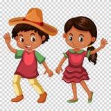 Мексиканские мальчик и девушка в костюме бесплатная иллюстрация