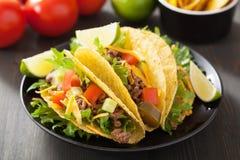 Мексиканские раковины тако с говядиной и овощами Стоковая Фотография RF