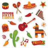 мексиканские стикеры иллюстрация вектора