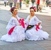 Мексиканские танцоры в Таймс площадь Стоковая Фотография RF