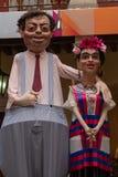 Мексиканские традиционные характеры Mojigangas, Diego Rivera y Frida Kahlo стоковые фото