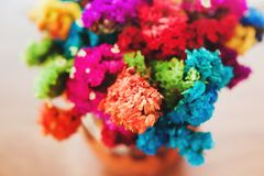 Мексиканские цветки, красочная Мексика, голубой, красный, желтый и зеленый стоковое изображение