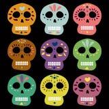 Мексиканские черепа вектора на день умерших muertos de dia los Иллюстрация для дизайна walpaper карточки места знамени бесплатная иллюстрация