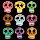 Мексиканские черепа вектора на день умерших muertos de dia los Иллюстрация для дизайна walpaper карточки места знамени иллюстрация штока